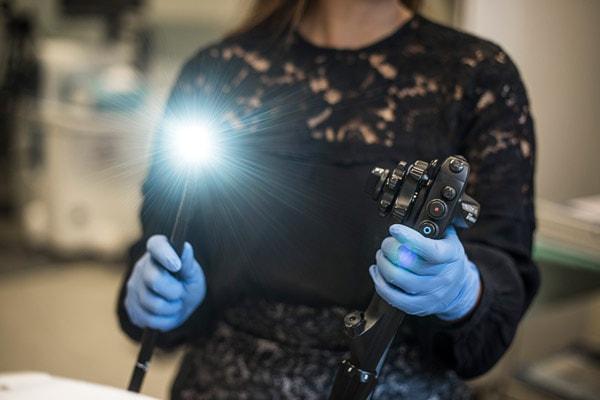 Det fleksible endoskop der bruges til kikkertundersøgelsen.