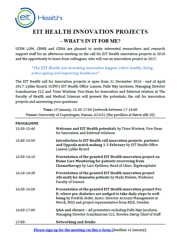 EIT Health Innovation Projects - invitation