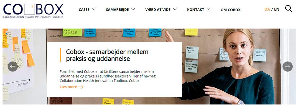 Cobox forsiden af websitet